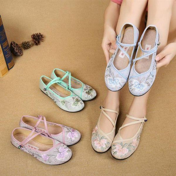 老北京布鞋女 平跟軟底民族風繡花鞋平底中國風漢服鞋 快速出貨
