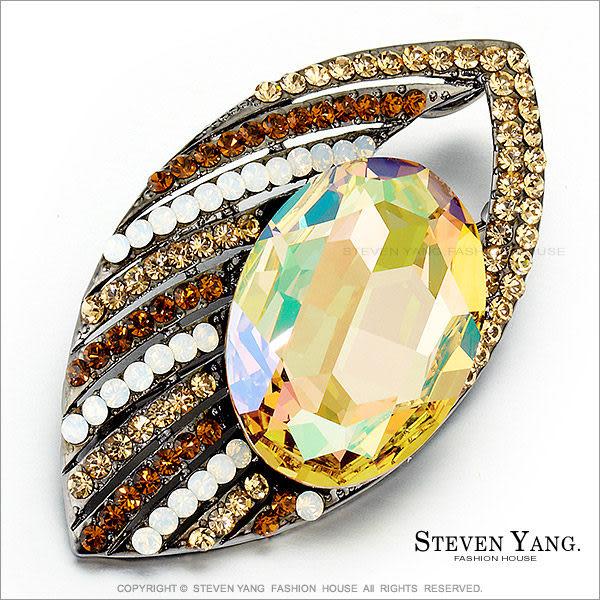 STEVEN YANG正白K飾「高雅貝殼」水晶別針胸針 茶色 母親節禮物
