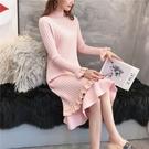 針織連身裙慵懶風套頭毛衣女長款過膝韓版加厚秋冬季打底針織連身裙 寶貝計書