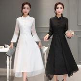 民族風洋裝 夏裝文藝復古中國風女裝氣質立領旗袍長裙雪紡連身裙顯瘦-炫科技