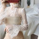 【GZ F2】薄款鏤空內搭網紗上衣 蕾絲衫 氣質百搭透視立領長袖上衣