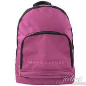 【新進品牌 獨家價】MARC JACOBS 馬克賈伯 大款 經典LOGO尼龍帆布後背包.桃紅