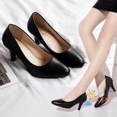 春季新款尖頭黑色高跟鞋女淺口中跟軟面皮鞋職業正裝單鞋細跟 【八折搶購】