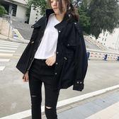 韓國工裝外套女原宿bf風抽繩收腰寬鬆短款風衣學生立領燈籠袖外套