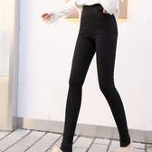 【GZ36】高腰彈力褲 縮腰窄管長褲 韓版黑色外穿鬆緊腰小腳褲