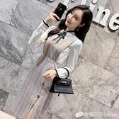格子洋裝襯衫兩件裝女夏新款收腰顯瘦V領裙子氣質開叉裙職業78