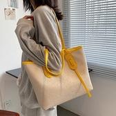 側背包 包包女夏小眾2021新款時尚手提大容量側背包夏季百搭小清新托特包 嬡孕哺 免運