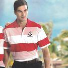 【義大利 SINA COVA】男女運動休閒電腦條紋短POLO衫-紅粉條紋#S806A