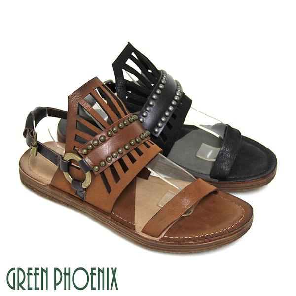 U28-22404 女款臘皮平底涼鞋 仿舊立體皇冠義大利雙色臘皮平底涼鞋【GREEN PHOENIX】BIS-VITAL