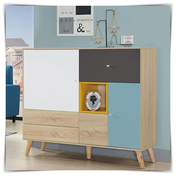 【水晶晶家具/傢俱首選】ZX1427-3萊茵4尺四抽二門撞色置物櫃