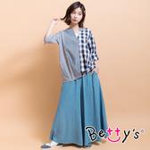 betty's貝蒂思 鬆緊腰圍牛仔褲裙(淺藍)