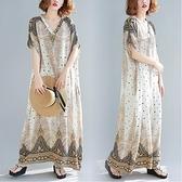 洋裝 中大尺碼 適合胖女人穿的連身裙超胖大碼女裝240胖mm夏波西米亞度假風長裙