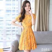 中大尺碼夏季新款韓版女士小香風名媛氣質印花修身顯瘦碎花雪紡短袖洋裝LXY1330『紅袖伊人』