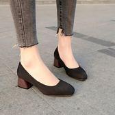春秋方頭韓版淺口單鞋粗跟絨面瓢鞋復古淺口瑪麗珍鞋女職業工作鞋  卡布奇诺