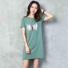 t恤女短袖2019夏裝新款寬松顯瘦時尚棉中長款綠色印花體恤打底衫