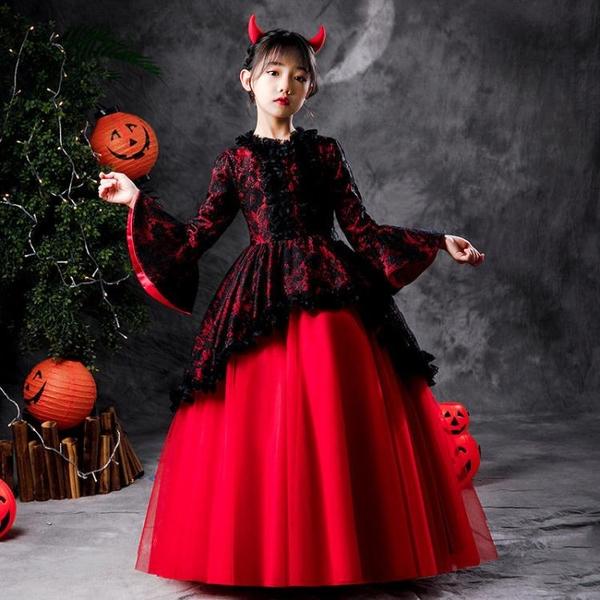 萬圣節兒童服裝女童化妝舞會禮服吸血鬼女巫角色演出服cosplay服快速出貨