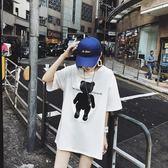 海外直發不退換純棉短袖t恤大碼女裝夏裝新款女裝中長款9002(T270A)愛尚布衣
