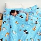 床包被套組 / 雙人【逗柴貓藍】含兩件枕套 高密度磨毛布 戀家小舖台灣製 柴犬 貓
