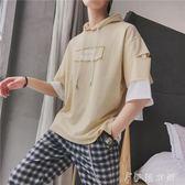 連帽T恤 ins超火的上衣ulzzang短袖T恤男原宿bf風chic韓風7七分袖寬鬆衛衣 伊鞋本鋪