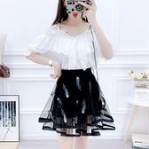 雪紡套裝 超仙的法國小眾兩件套氣質顯瘦吊帶荷葉邊雪紡衫洋氣半身裙套裝女-Ballet朵朵