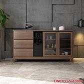 北歐多功能餐邊櫃胡桃木色餐廳櫃子現代簡約廚房碗櫃置物櫃儲物櫃JD CY潮流站