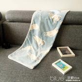 日系小貓咪毛毯蓋腿辦公室午睡毯空調毯寶寶蓋毯法萊絨毛毯 深藏blue