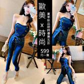 克妹Ke-Mei【AT51970】泰國潮牌 辣妹子金屬軍風排釦腰帶牛仔平口連身褲裝