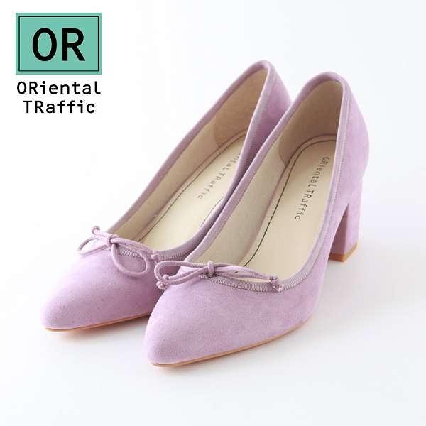【ORiental TRaffic】經典蝴蝶結尖頭芭蕾舞粗跟鞋-夢幻紫