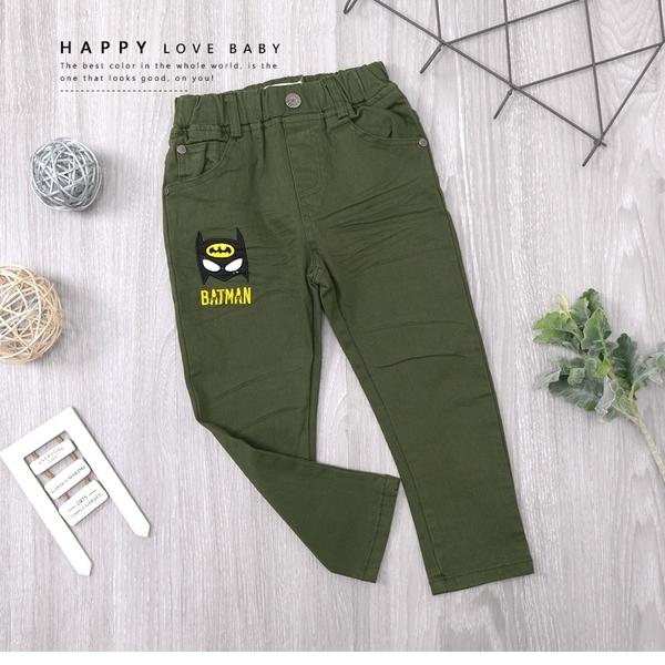 軍綠 純棉 蝙蝠俠刺繡標誌素面平織褲 長褲 口袋 帥氣 個性 微彈 男童裝 男長褲 秋冬長褲