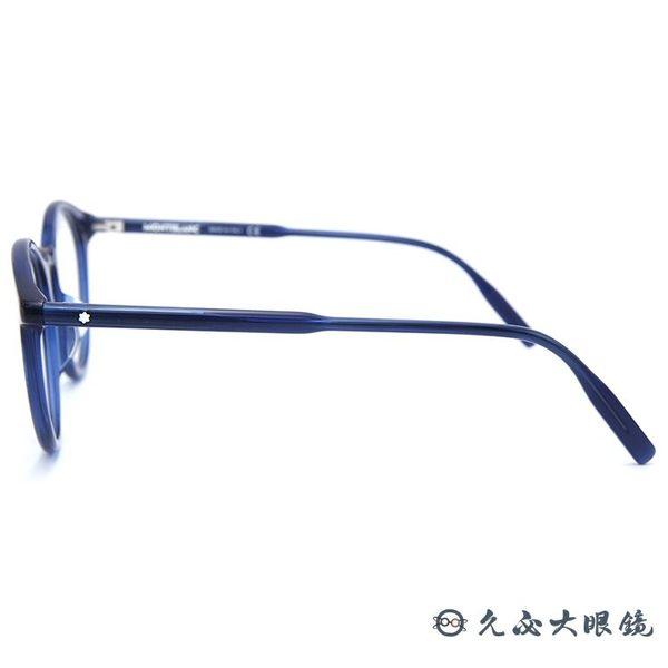 MONTBLANC 2019最新款 萬寶龍 眼鏡 圓框 近視眼鏡 MB0009OA 007 透藍 久必大眼鏡