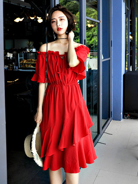 克妹Ke-Mei【AT58439】法式維蜜chic女神性感交叉吊頸荷葉不規則長洋裝