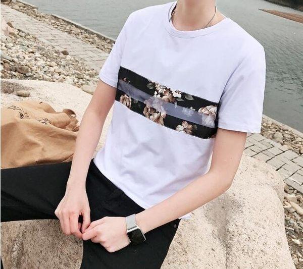 找到自己品牌 男士韓版 印花 潮流修身短袖T恤 青年打底衫