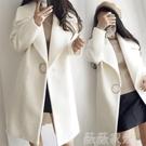 毛呢外套 2020秋冬反季韓版羊毛呢外套加厚大翻領白色中長款繭型呢子大衣女 薇薇