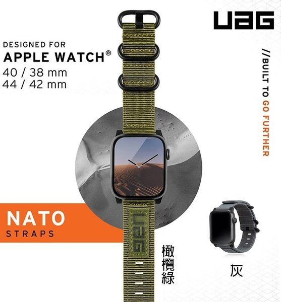 【UAG】 Apple Watch 38/40/42/44mm Nato尼龍x不鏽鋼錶帶(灰)(綠)