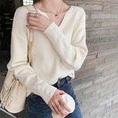 秋冬裝新款套頭寬鬆V領毛衣港風ins長袖T恤打底針織衫女上衣小衫寶貝計畫