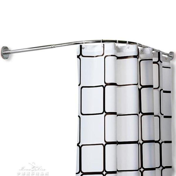浴室弧形浴簾桿浴簾套裝免打孔衛生間伸縮淋浴加厚防水防霉隔斷簾「夢娜麗莎精品館」