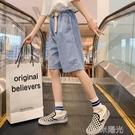 女童褲子夏季薄款2021新款夏裝中大童純棉五分褲兒童牛仔短褲外穿 一米陽光