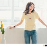 《FA2223-》柔軟細針織配色花朵織紋短袖上衣 OB嚴選