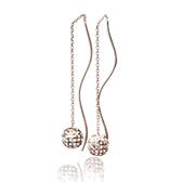 【LECRIN翠屋珠寶】義大利14K金耳環-玫瑰金垂式鏤空球