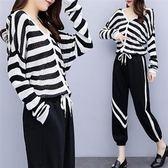 中大尺碼XL-5XL韓版寬鬆休閒上衣兩件套27404新款大碼女裝條紋毛衣針織衫兩件套愛尚布衣