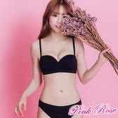 平口內衣 運動風無痕成套內衣A-C罩杯(黑色) 粉紅薔薇