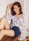 Victoria  格紋中長版長袖襯衫-女-V75078