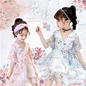 浪漫夏日唯美V領雪紡花朵洋裝-2色(270706)★水娃娃時尚童裝★