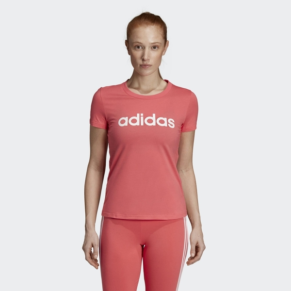 ADIDAS CORE LINEAR 女裝 短袖 慢跑 訓練 棉質 透氣 粉【運動世界】DX2545