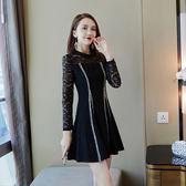 VK精品服飾 韓國風時尚線條蕾絲拼接長袖洋裝