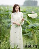 民國連衣裙手繪蓮花七分袖中國風長裙