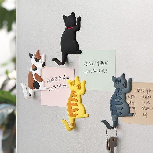 可愛貓咪尾巴磁鐵掛鉤 冰箱貼 卡通喵星人磁性貼