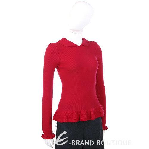 VALENTINO 紅色荷葉造型針織上衣 1230423-54