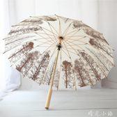 沛欣晴雨傘秋冬白樺樹林古風16骨復古木柄傘直桿長柄傘男女中國風   晴光小語