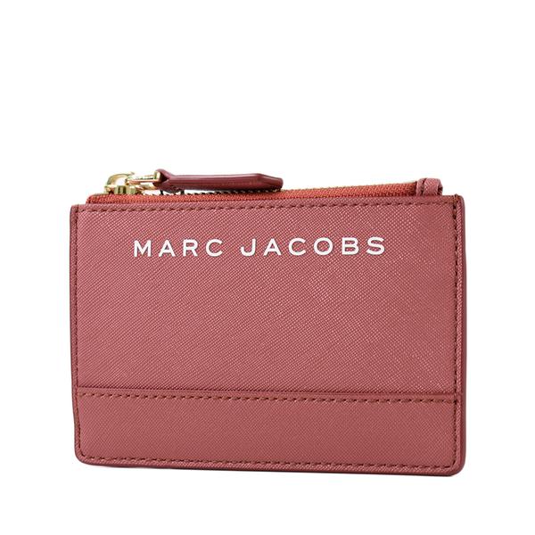 美國正品 MARC JACOBS 白色LOGO防刮皮革證件/鑰匙零錢包-乾燥玫瑰【現貨】